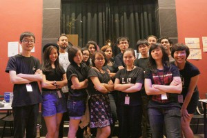 A great team of Festival Assistants. Most of them Arts Management students from NAFA. Looking tough must be trending. Photo: Lit Up 2014